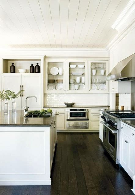 White Kitchen Cabinets Wood Floors Wood Floors White Cabinets Counters Heavenly