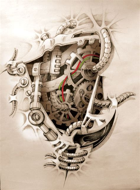 biomechanical heart tattoo designs mechanics inside from devianart another one