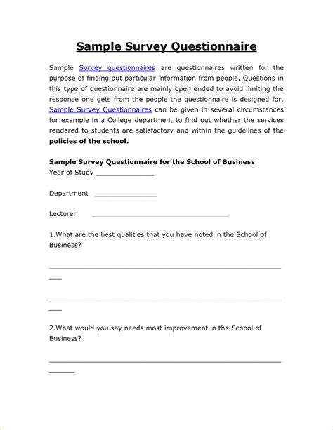 Cover Letter Exles Questionnaires 4 Sle Survey Questionnairereport Template Document Report Template