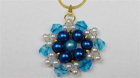 how to make a beaded pearl pendant with bicones beading