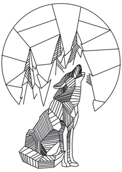 pattern drawing wolf howling wolf urban threads unique and awesome