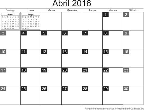 Calendario Para Imprimir Abril 2016 Calendario Para Imprimir Calendarios Para