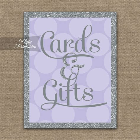 cards gifts sign template printable cards gifts sign lilac silver gray dots