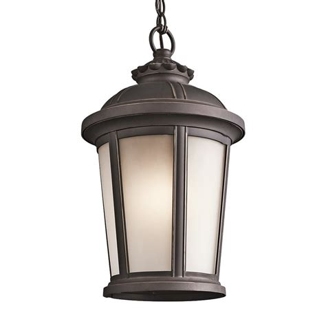 Lowes Hanging Light Fixtures Shop Kichler Lighting Ralston 17 In Rubbed Bronze Outdoor Pendant Light At Lowes