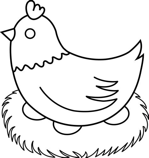 chicken drawing outline at getdrawings com free for personal use hen clipart black and white clipart best
