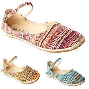 womens summer shoes womens multi colour canvas flat dolly pumps summer shoes
