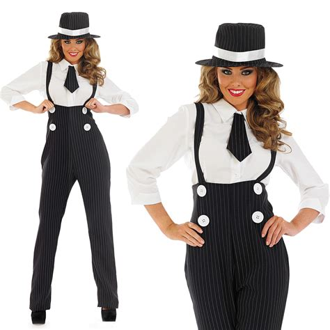 cute outfits for late 20s womems outfits ladies black gangster pinstripe fancy dress suit costume