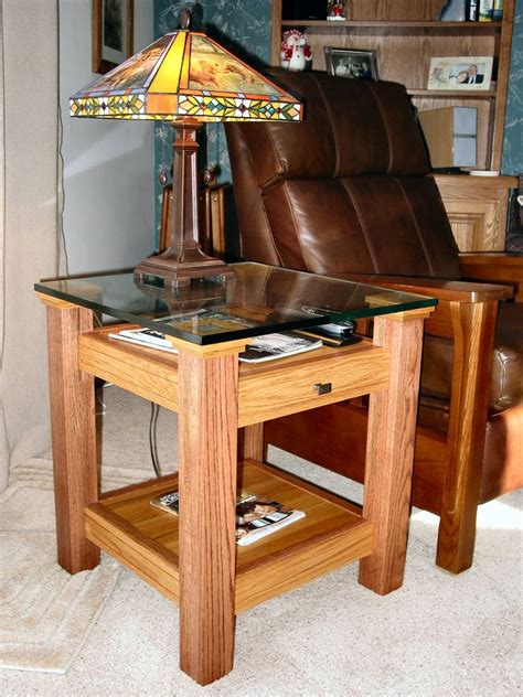 woodworking ideas for oak glass display top end table small wood projects