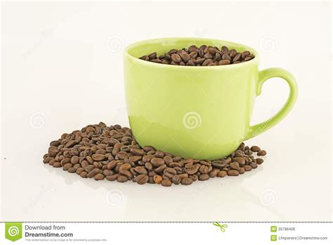 Tumbler Coffee Bean mug with coffee beans royalty free stock image image