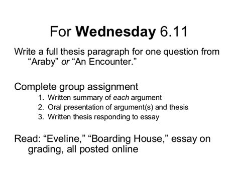Araby Setting Essay by 106 Slides 3 2013 Thesis To Argument