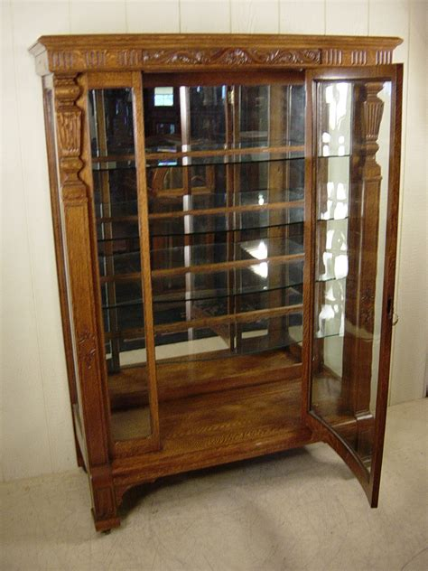 Rectangular Oak China Cabinet with Curved Glass Door