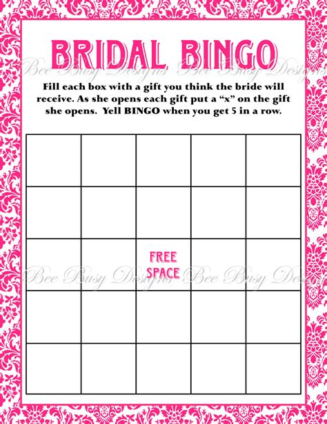 bridal shower bingo template free printable bridal shower bingo new calendar template