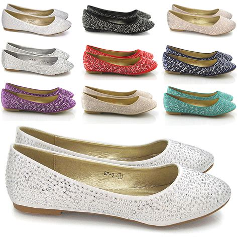 sparkly flat shoes for wedding new womens brial diamante sparkly slip on