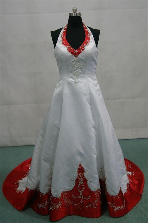 Red and white halter top wedding dress.