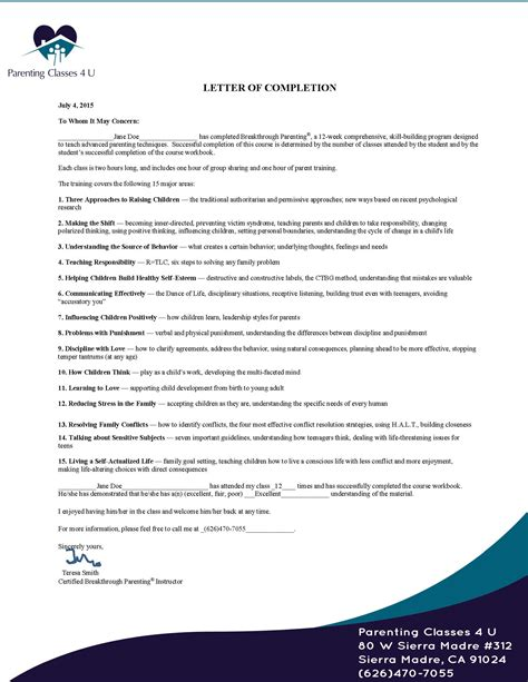 Parenting Classes Online Court Approved 12 Parenting Class Certificate Of Completion Template