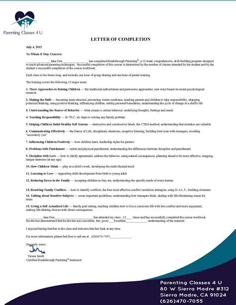 Parent Verification Letter Parenting Classes Court Approved 12