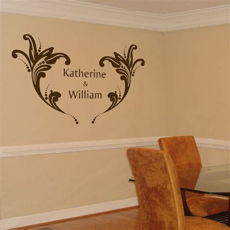 Wallsticker Wedding personalized wedding monogram with flourishes wall decal sticker graphic