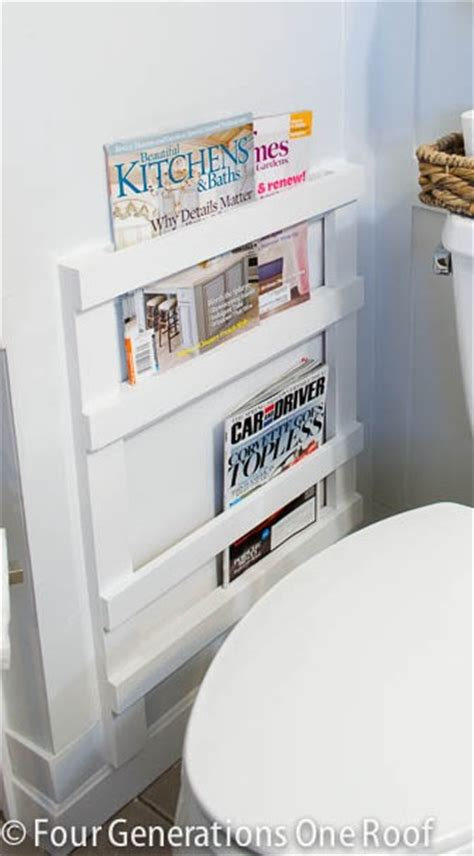 bathroom wall magazine rack bathroom diy magazine rack tutorial four generations