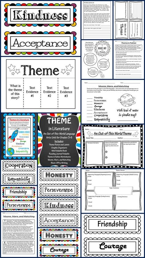 teaching themes in literature theme in literature theme match foldables writing