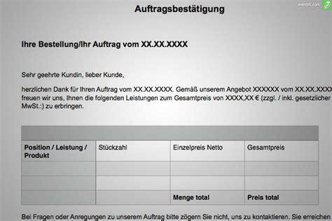 Angebot Per Mail Versenden Muster Auftragsbest 228 Tigung Muster Und Gratis Word Vorlage Everbill Magazin