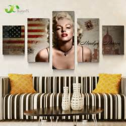 Marilyn Monroe Home Decor by 5 Panel Marilyn Monroe Oil Canvas Painting Picture Wall