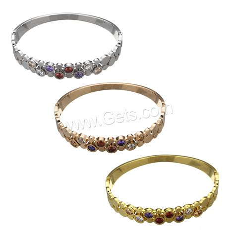 Steel Bangle With Cubic Zirconia stainless steel bangle plated micro pave cubic zirconia
