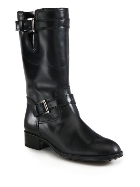 black leather moto boots tod s leather motorcycle boots in black lyst