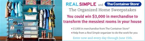 Real Simple Sweepstakes - who wants to win a 4000 organizing makeover need another you