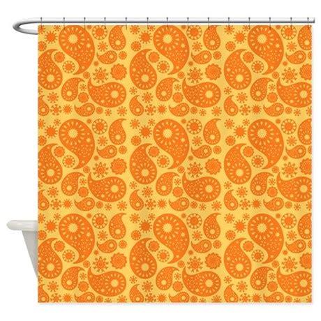 Orange Paisley Shower Curtain By Metarla3
