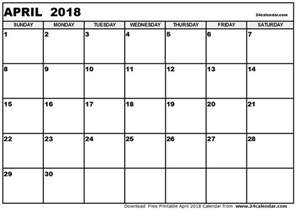 Calendar 2018 April India Blank 2018 Calendar Weekly Calendar Template