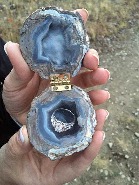 geode engagement ring box engagement ring in a geode box love it wedding