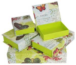 decorative box set flora fauna butterfly traditional