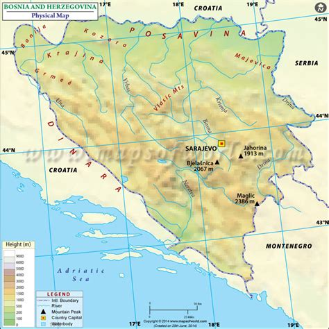 map of bosnia and herzegovina physical map of bosnia and herzegovina