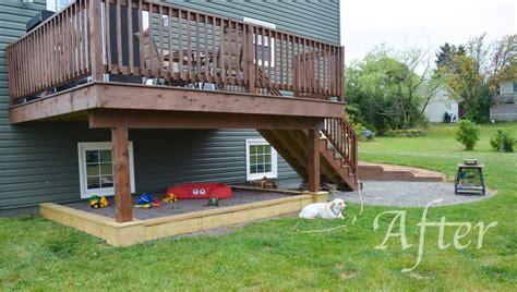 Backyard Sandbox Slippers By Day Diy Sandbox Beneath A Raised Deck