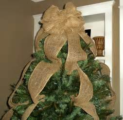 burlap christmas tree topper bow ready to ship full tree