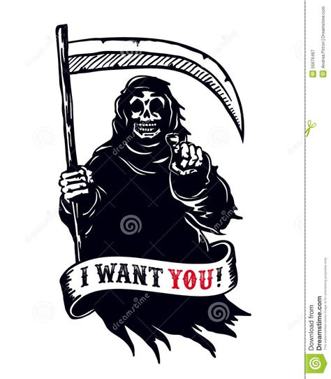 Want You Dead grim reaper with scythe pointing finger i want you dead stock vector image 55676467