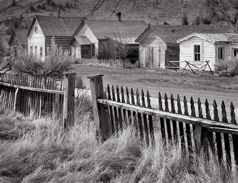 fence and buildings, bannack, mt. black and white ghost