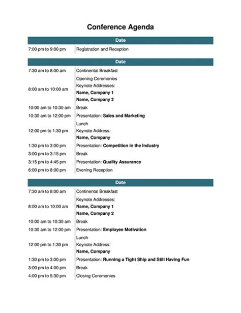 meeting itinerary template conference agenda office templates