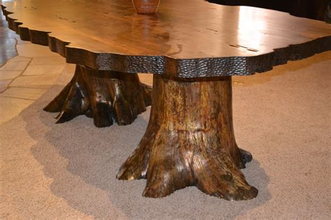 tree trunk dining table thetastingroomnyc