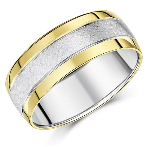 8mm silver and 9ct yellow gold two tone wedding ring band