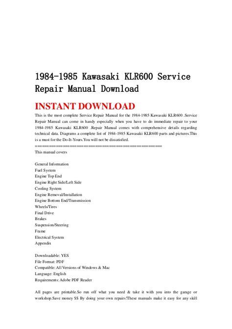 repair voice data communications 1984 honda cr x user handbook 1984 1985 kawasaki klr600 service repair manual download