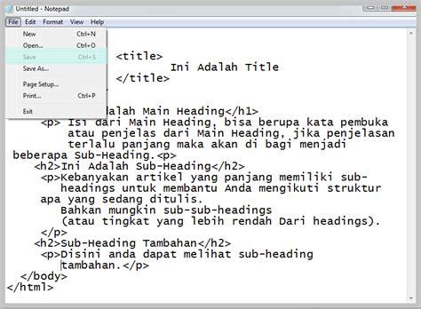 cara membuat halaman index html cara membuat halaman web sederhana nyekrip