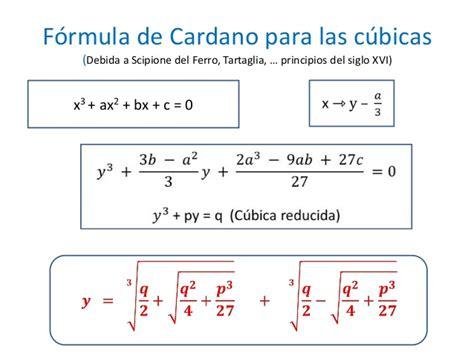gerolamo cardano ecuacion cubica f 243 rmula de cardano para c 250 bicas