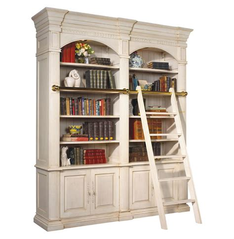 Bookcase With Library Ladder Percier Country White Library Bookcase With Ladder Kathy Kuo Home