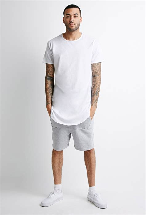 T County Contemporary Mens Clothing Line With A Rugged Edge by Forever 21 Curved Hem Longline In White For Lyst