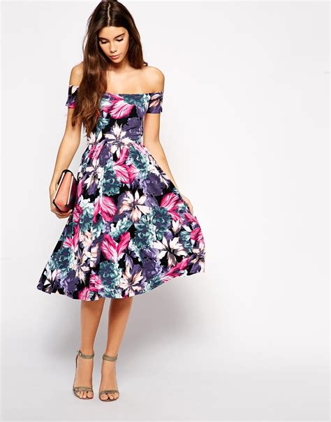 Dress Midi Vb Flower asos exclusive bardot midi dress in oversize floral print
