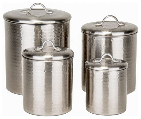 contemporary kitchen canisters 4 piece brushed nickel hammered canister 4qt 2qt 1