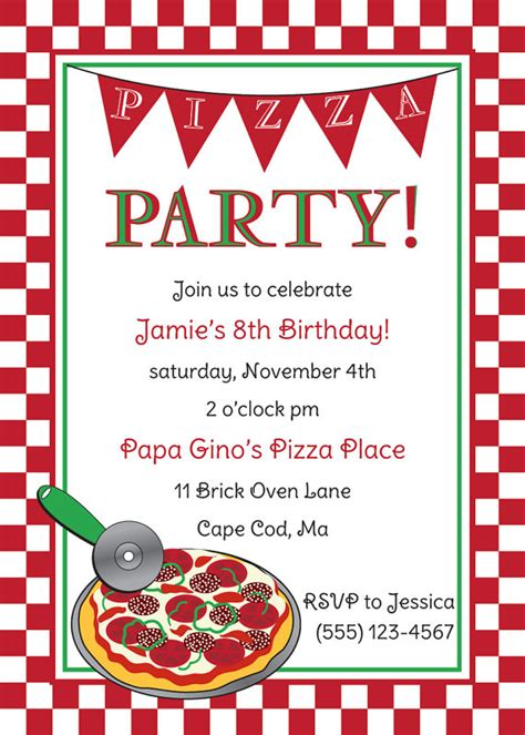 pizza party birthday invitation by anchorbluedesign on etsy