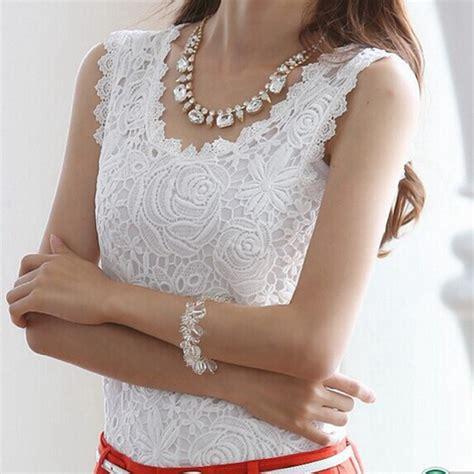 Blouse Kerah Renda Blouse Polos aliexpress buy new 2016 womens tops lace crochet shirts sleeveless black white blouse plus