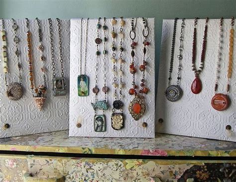 How To Display Handmade Jewelry - beautiful necklace displays using wallpaper the beading